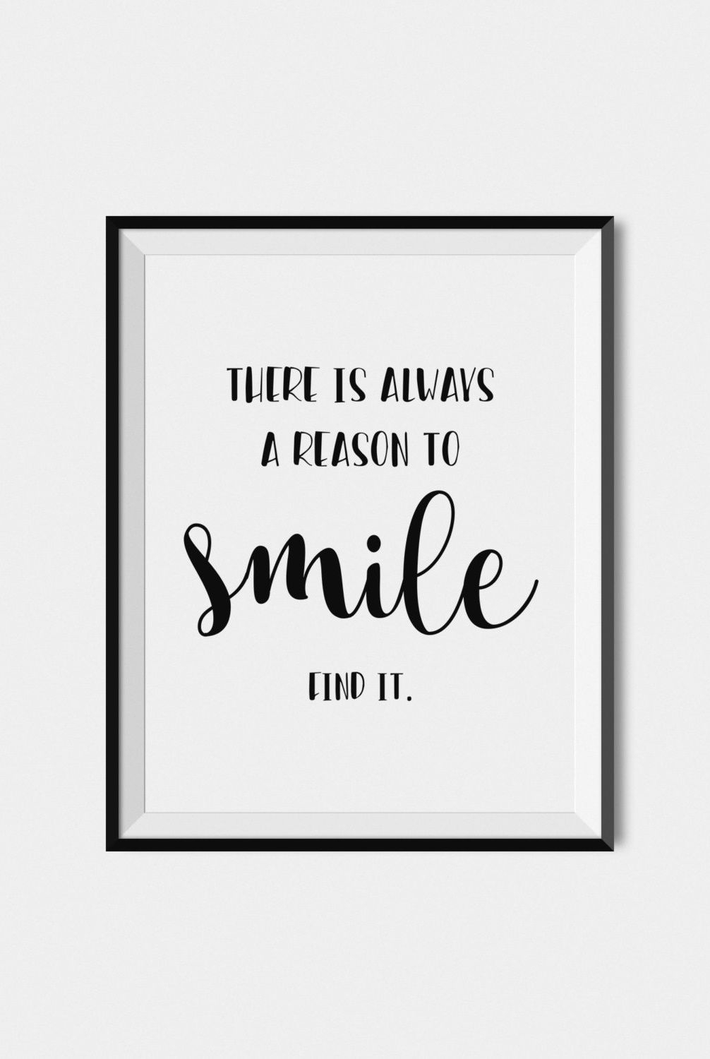 Quote Print Smile, Digital Download Art, Printable Wall Art, Black Throughout Wall Art Quotes (View 7 of 20)