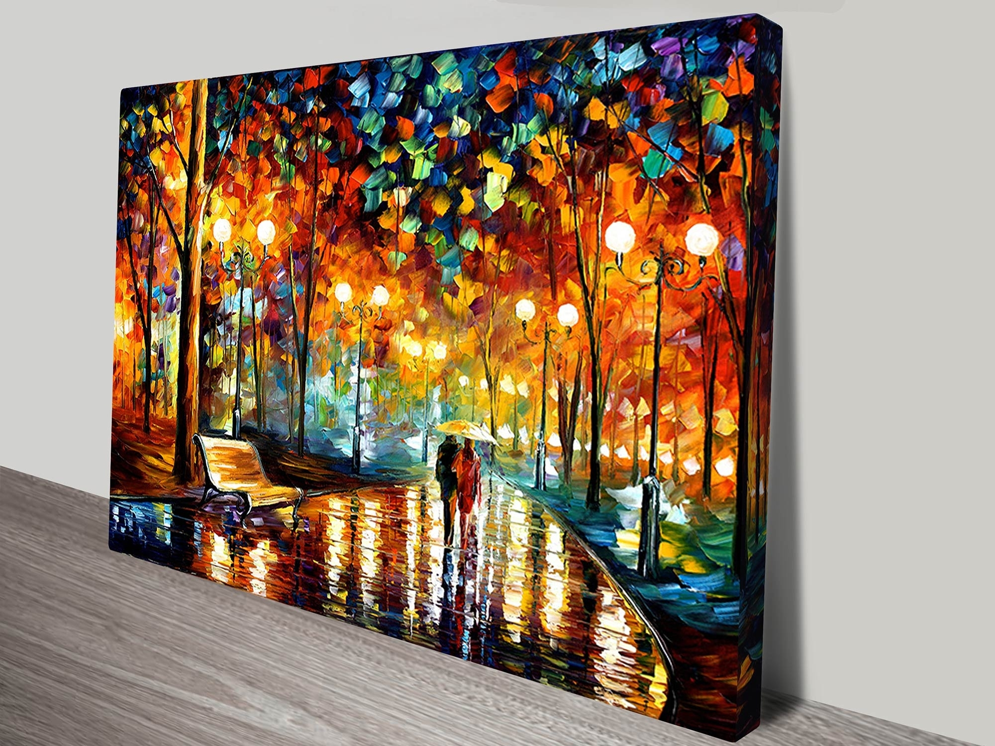 Rain Rustle Leonid Afremov Canvas Art Print Vintage Wall Canvas Art Intended For Wall Canvas Art (View 12 of 20)