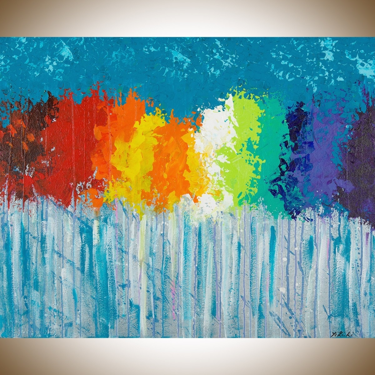 "Rainbow Flowersqiqigallery 30""x24"" Original Modern Abstract Wall throughout Modern Abstract Painting Wall Art (Image 19 of 20)"