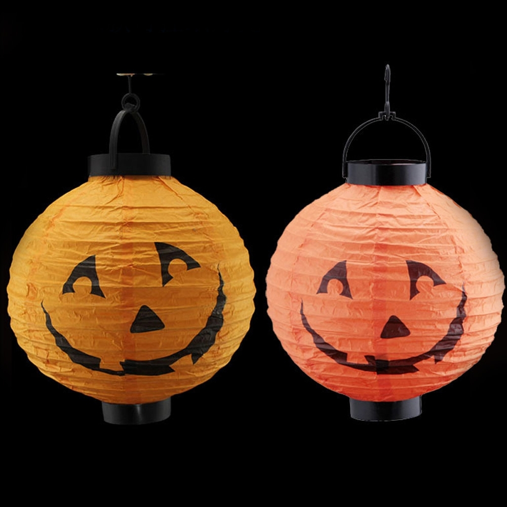 Random Color Feative Lanterns Pumpkin Light Halloween Decoration with Outdoor Pumpkin Lanterns (Image 15 of 20)