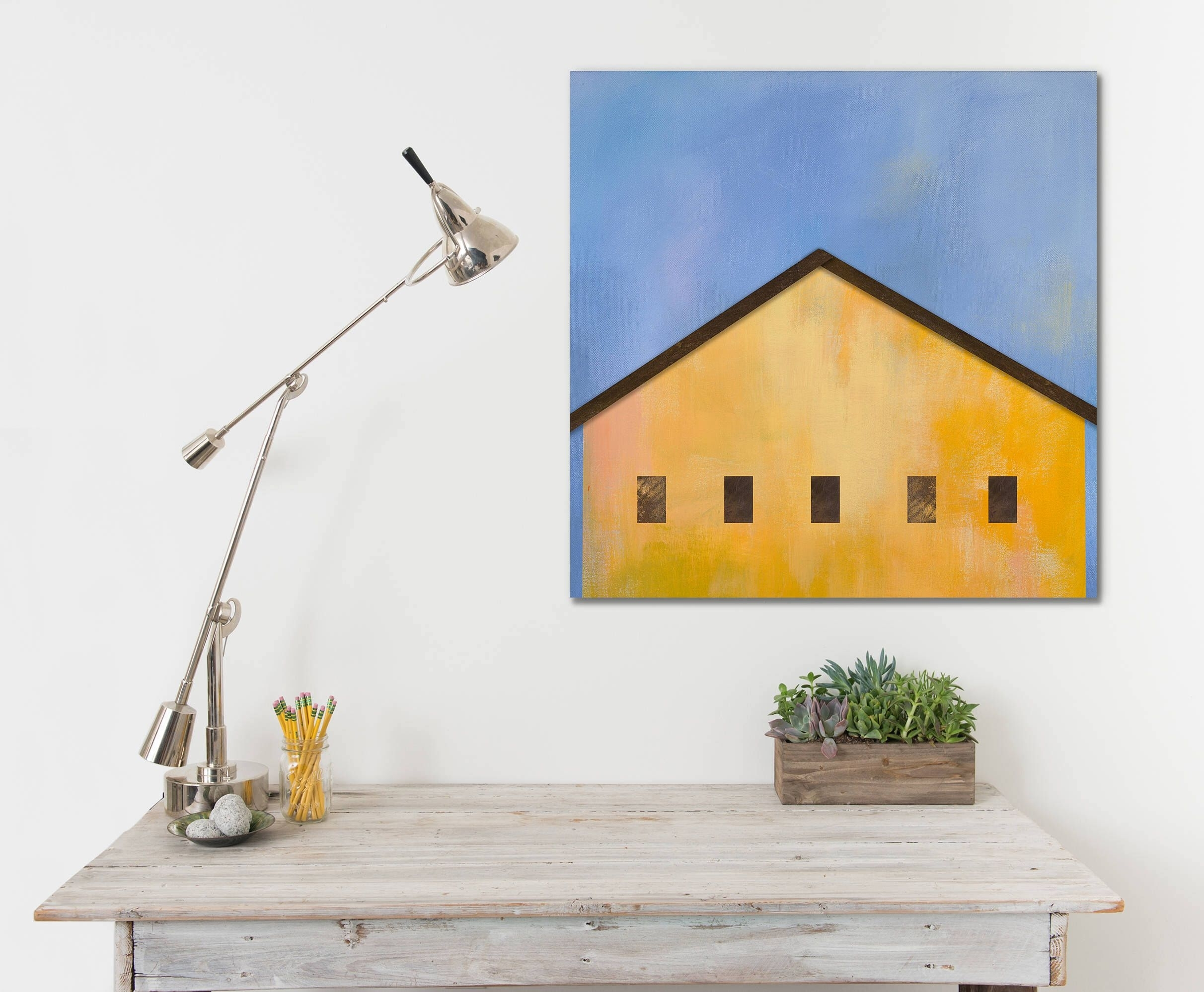 Ready To Hang Farmhouse Barn Canvas Print, Yellow, Red Pink Barn pertaining to Country Wall Art (Image 17 of 20)
