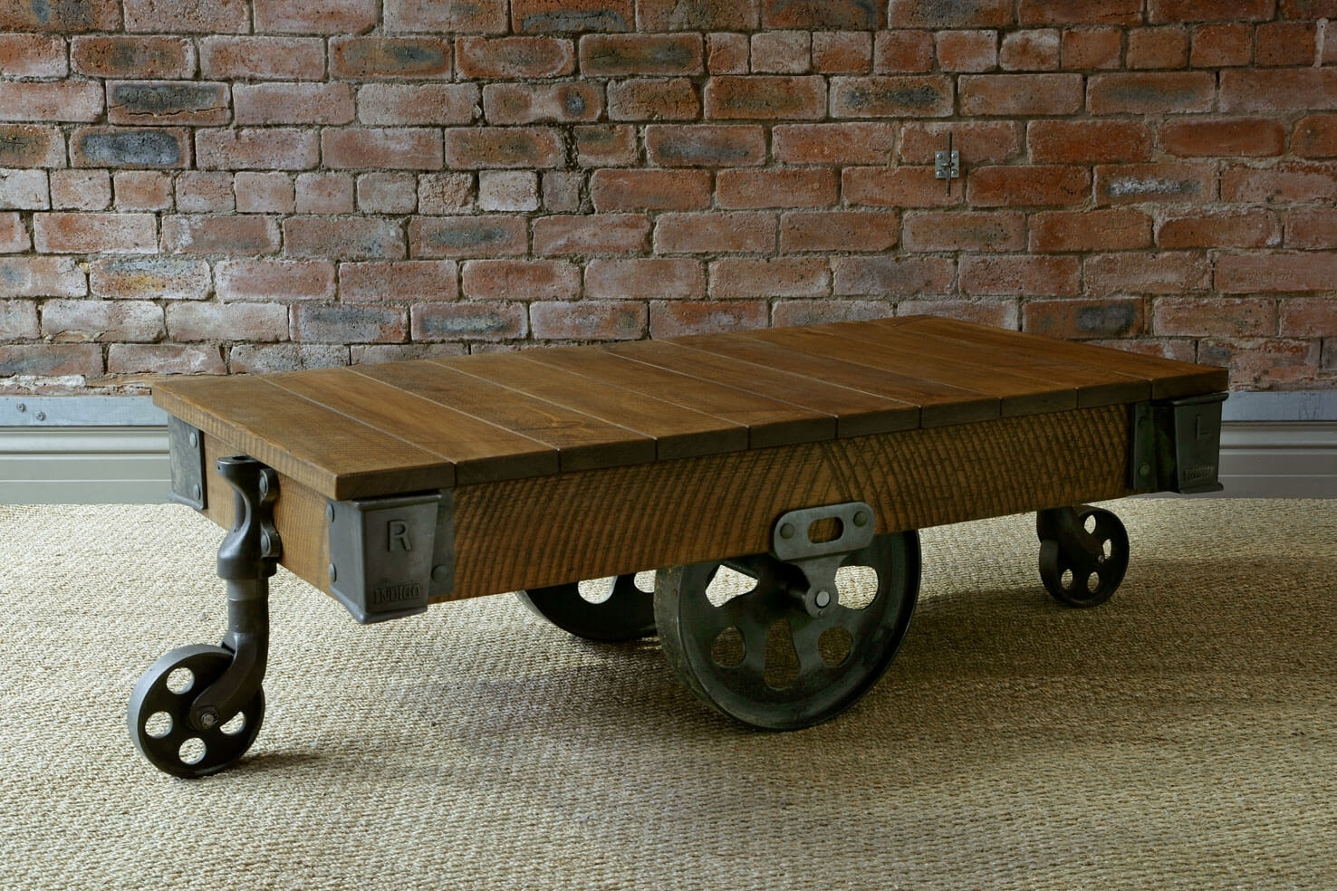 Reclaimed Mill Cart Coffee Table, Handcraftedindigo Furniture Throughout Mill Coffee Tables (Image 24 of 30)