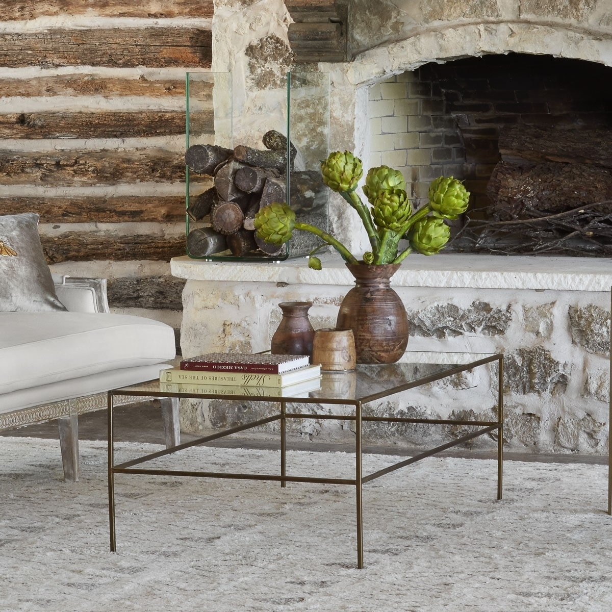 Rectangular Brass Finish And Glass Coffee Table | Wisteria Regarding Rectangular Brass Finish And Glass Coffee Tables (Photo 10 of 30)