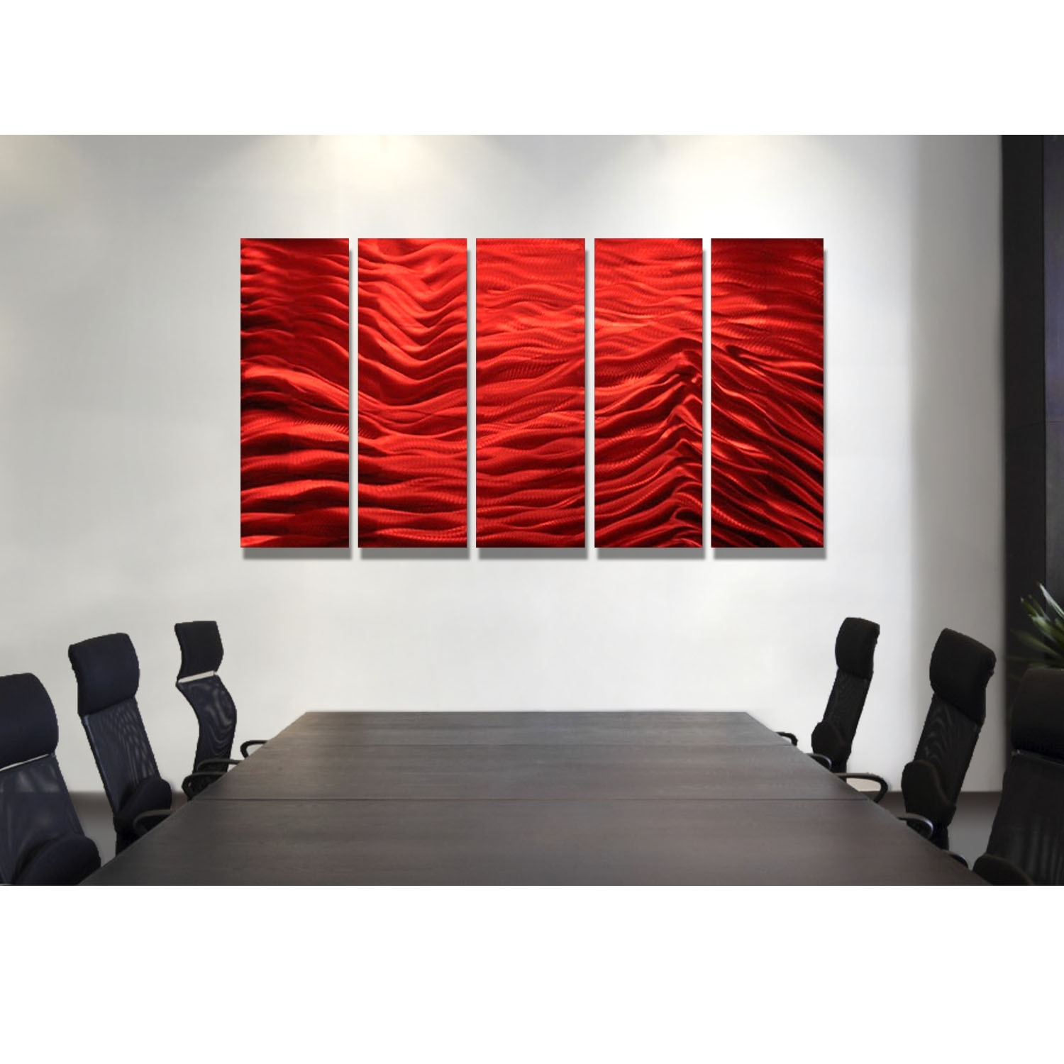 Red Inertia - Red Metal Wall Art - 5 Panel Wall Décorjon Allen throughout 5 Panel Wall Art (Image 16 of 20)