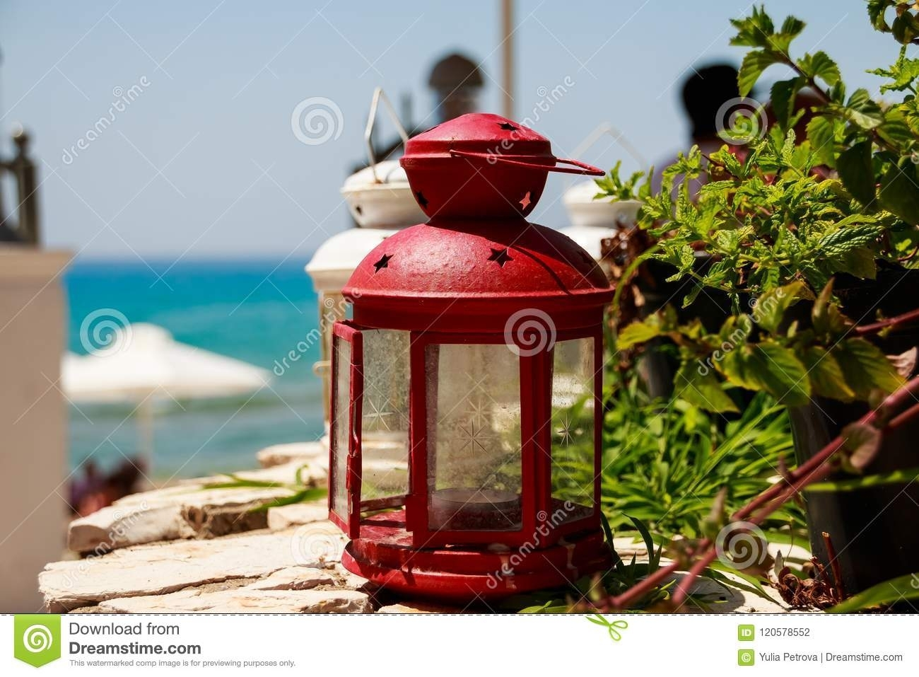 Red Small Lantern As Decoration At A Seacoast Restaurant (View 18 of 20)
