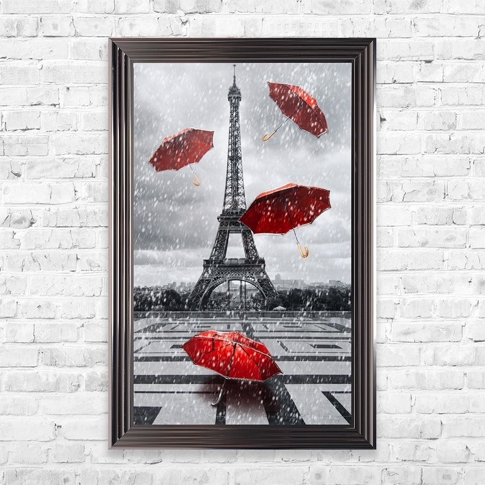 Red Umbrella Paris Wall Art | 114Cm X 74Cm within Paris Wall Art (Image 18 of 20)