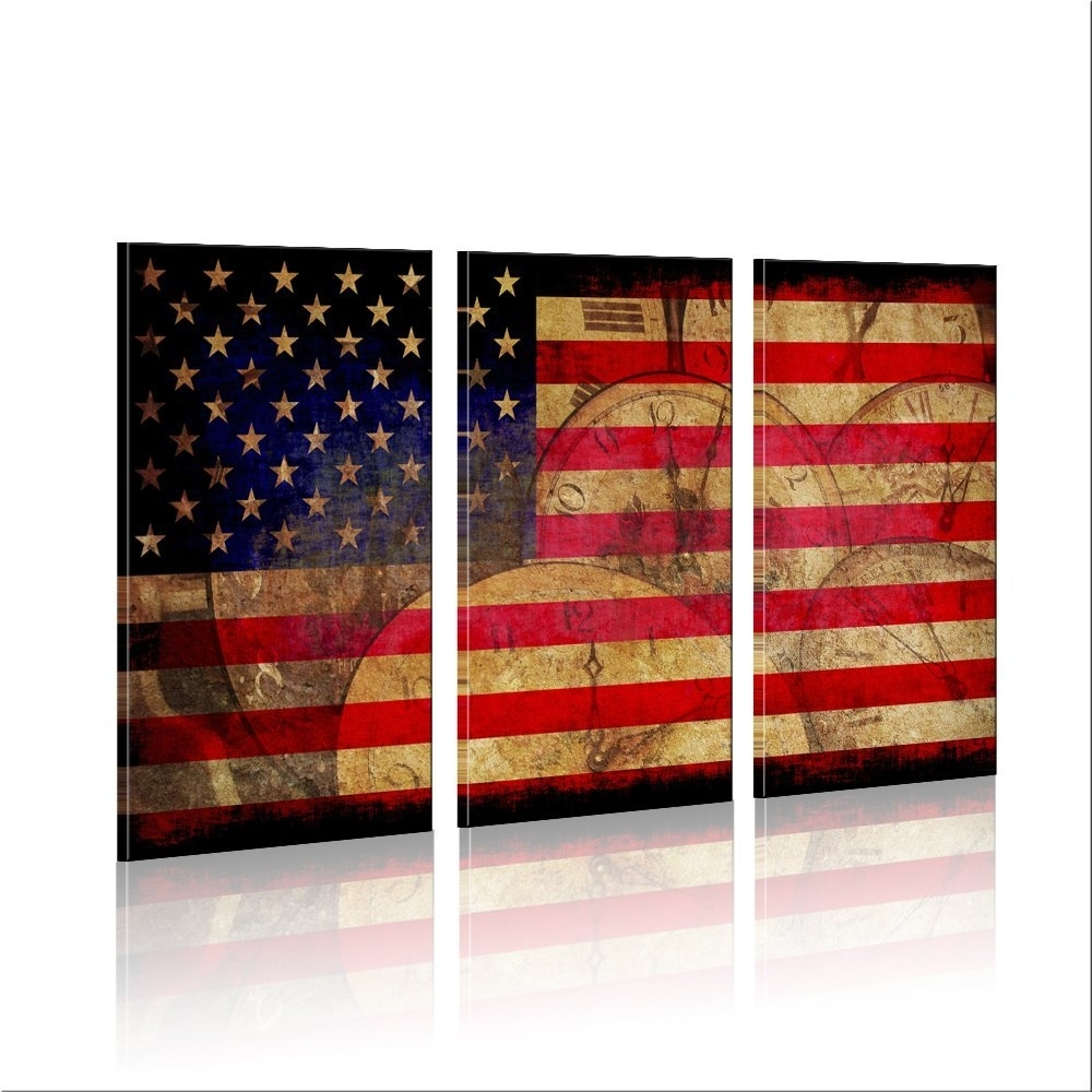 Retro Vintage American Flag Wall Art Canvas Prints American Flag On with Vintage American Flag Wall Art (Image 13 of 20)