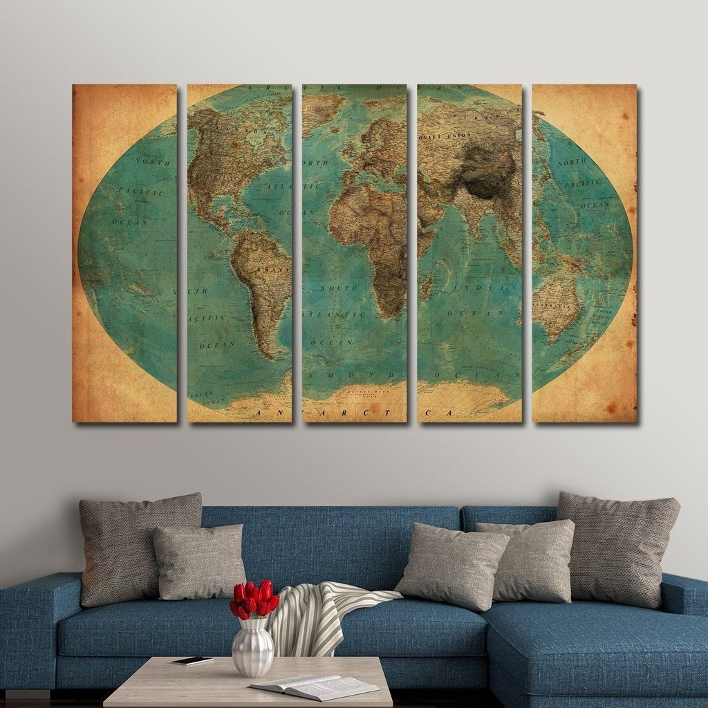 Retro World Map (1930`s) Multi Panel Canvas Wall Art | New Home inside Multi Panel Wall Art (Image 16 of 20)