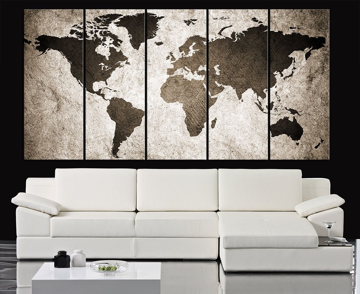Retro World Map Canvas Print Art Drawing On Old Wall - Watercolor within Map Wall Art Prints (Image 13 of 20)