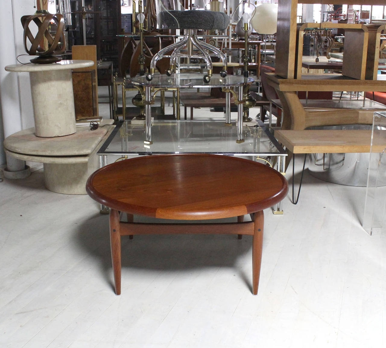 Reversible Flip-Top Danish Modern Round Teak Coffee Table For Sale intended for Round Teak Coffee Tables (Image 17 of 30)