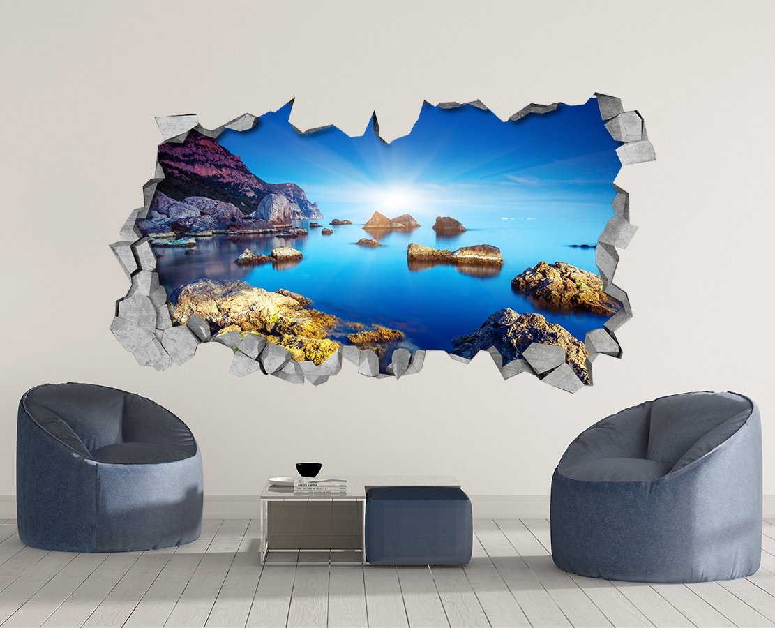 Rocky Sea – 3D Wall Art – Broken Wall – 3D Wall Stickers – Wall Regarding 3D Wall Art (View 16 of 20)