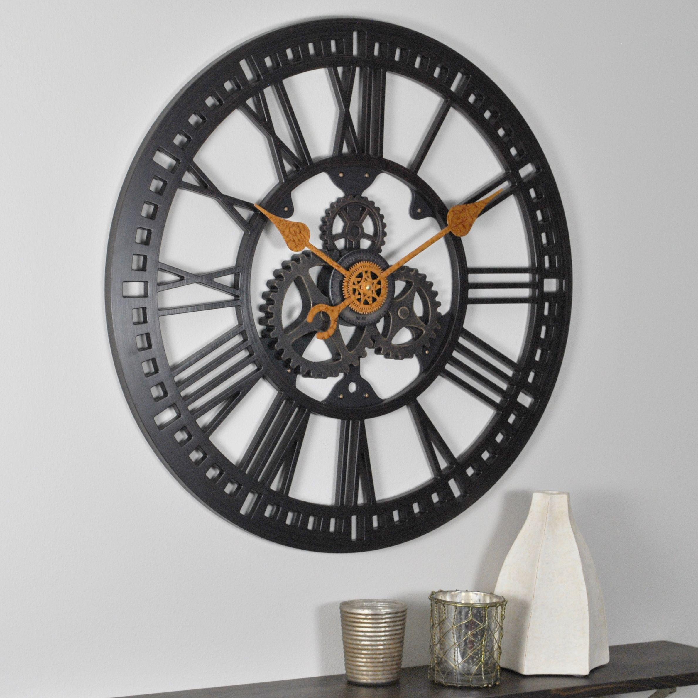 "Roman Gear Wall Clock 24"" Bronze Round Retro Art Deco Home in Art Deco Wall Clock (Image 18 of 20)"