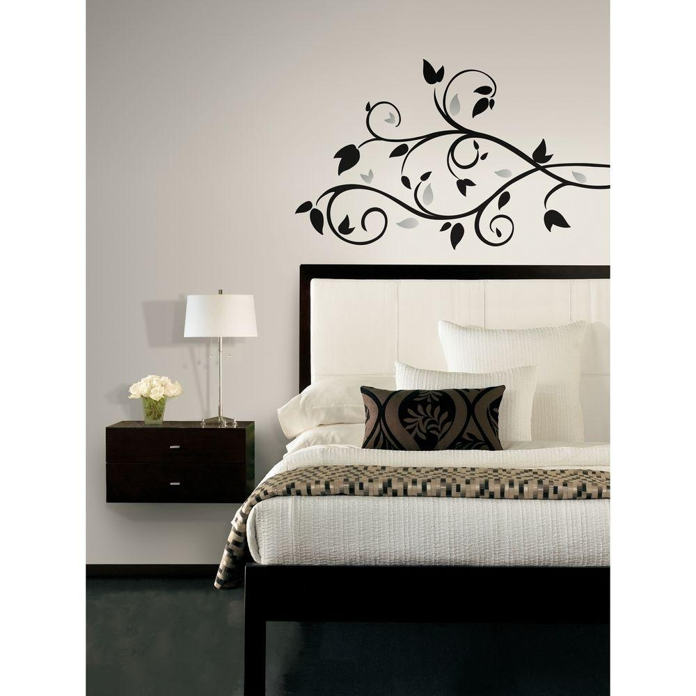 Roommates Scroll Branch Foil Leaves Peel And Stick Wall Decal Regarding Stick On Wall Art (View 14 of 20)