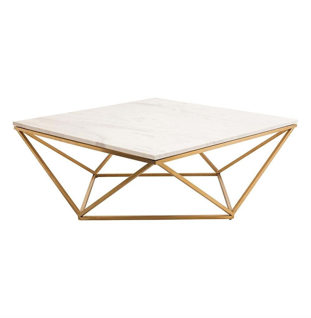 Rosalie Hollywood Regency Gold Steel White Marble Coffee Table pertaining to Suspend Ii Marble and Wood Coffee Tables (Image 20 of 30)