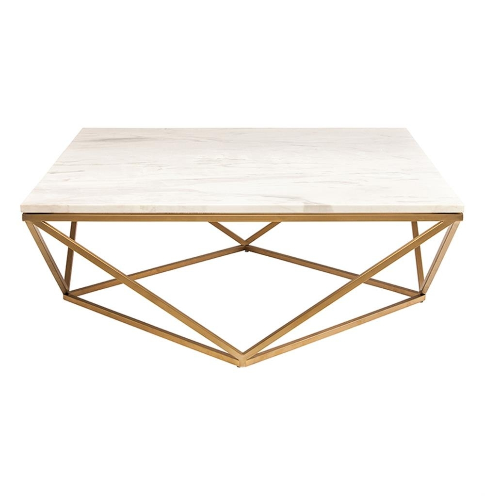 Rosalie Hollywood Regency Gold Steel White Marble Coffee Table with regard to Modern Marble Iron Coffee Tables (Image 28 of 30)