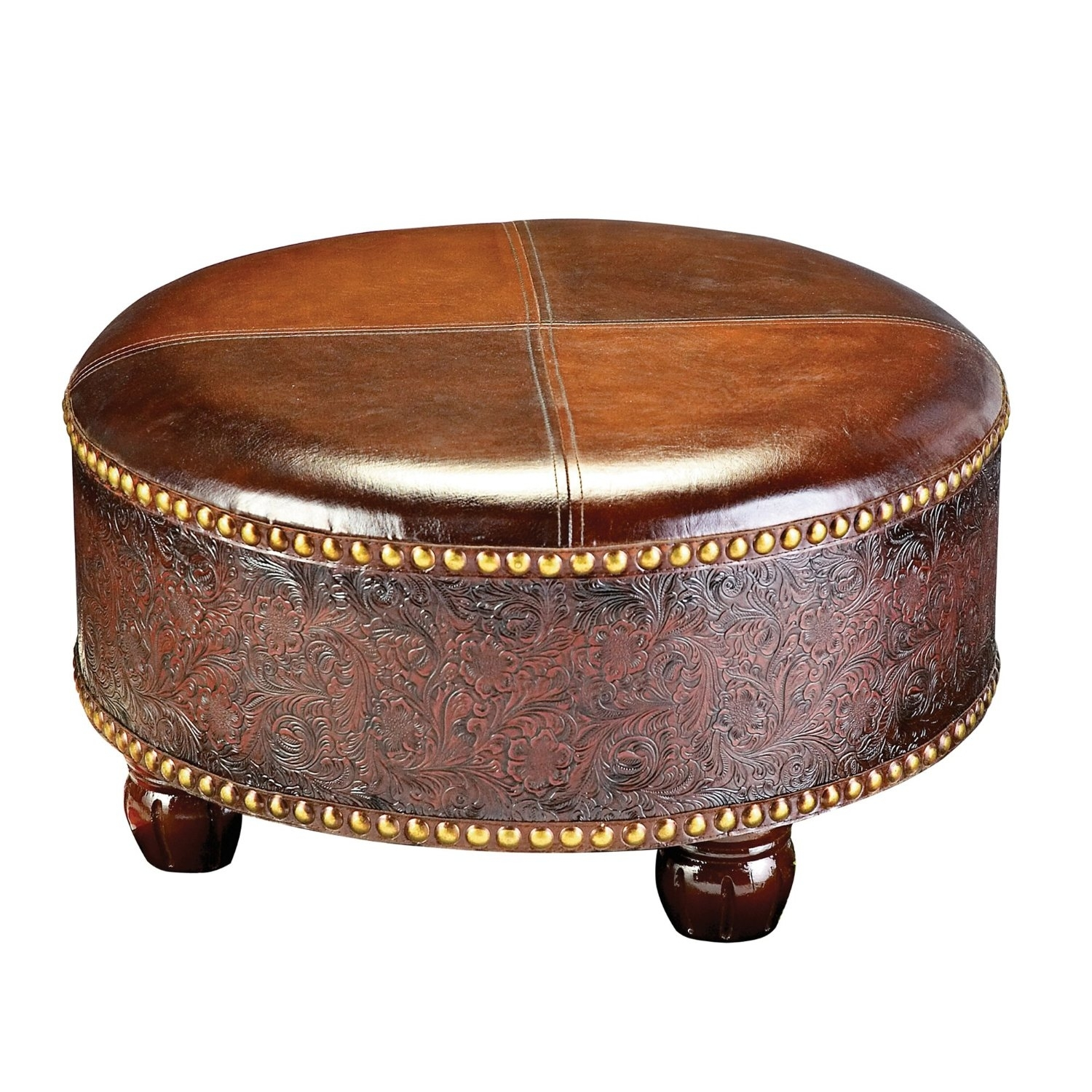 Round Brown Leather Coffee Table Plus Brown Wooden Carving Base And regarding Round Carved Wood Coffee Tables (Image 18 of 30)
