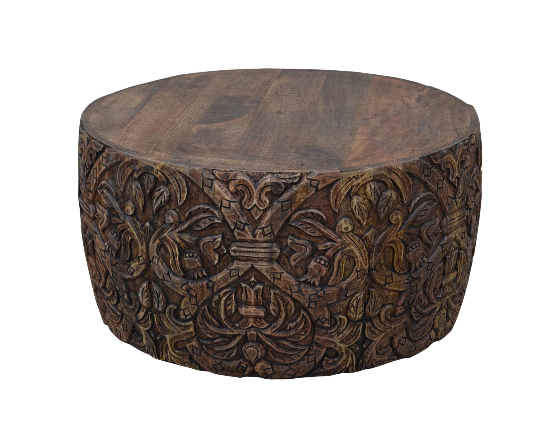 Round Carved Wood Coffee Table Carved Coffee Table | Vast - Wooden for Round Carved Wood Coffee Tables (Image 21 of 30)
