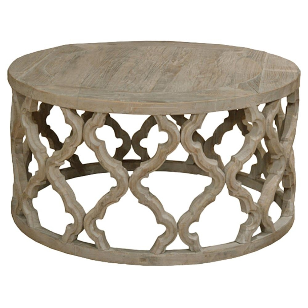 Round Carved Wood Coffee Table Dionne French Rustic Round Reclaimed with regard to Round Carved Wood Coffee Tables (Image 22 of 30)