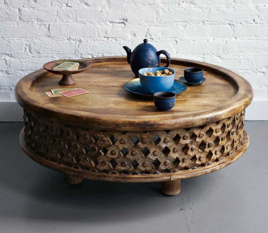 Round Carved Wood Coffee Table with regard to Round Carved Wood Coffee Tables (Image 24 of 30)