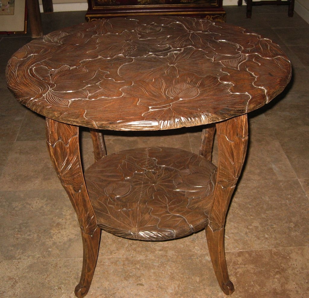 Round Carved Wood Lotus Table Dynasty Collections Wood Trunk Table with regard to Round Carved Wood Coffee Tables (Image 25 of 30)