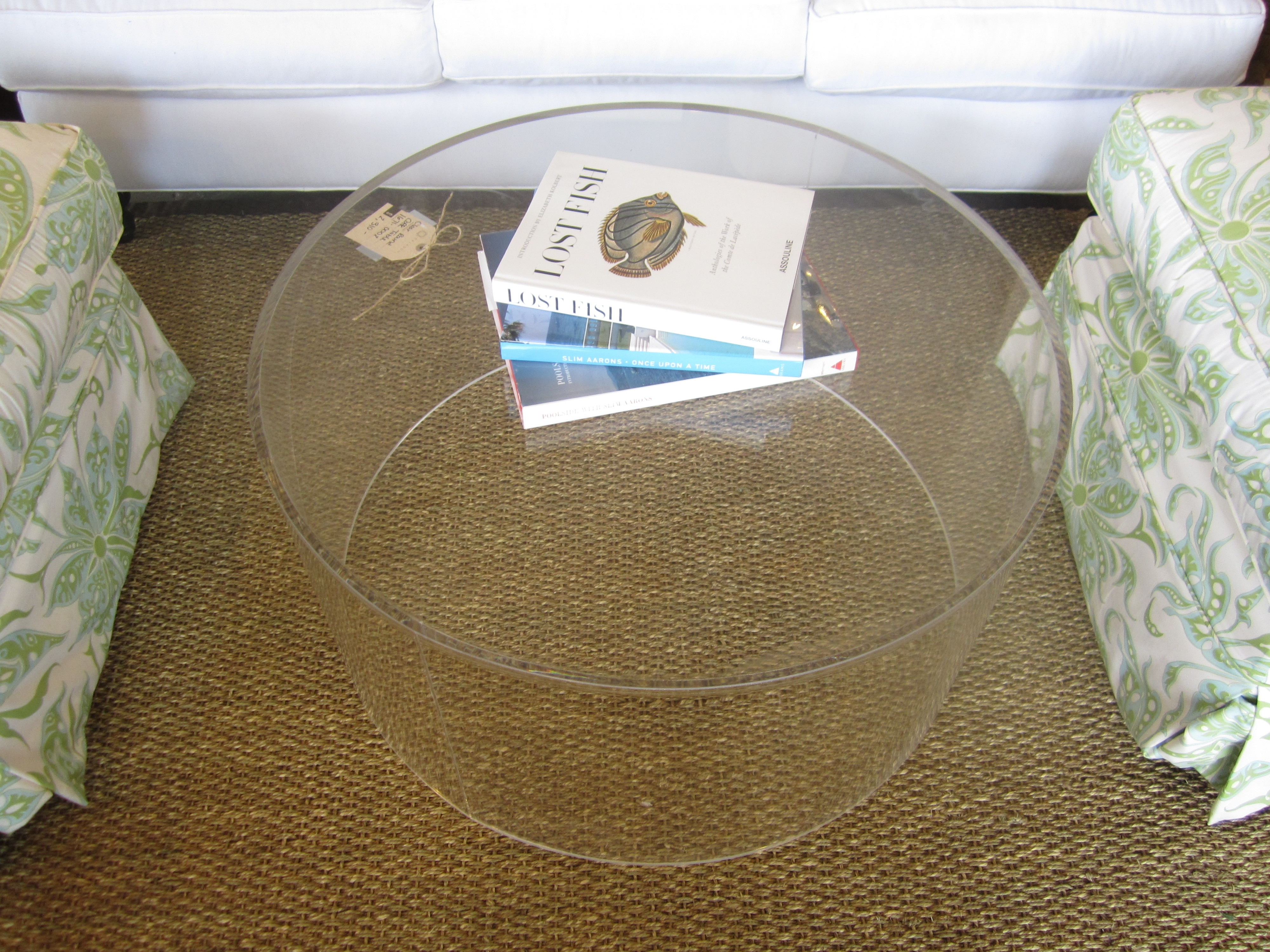 Round Clear Acrylic Coffee Table With Bookshelf Storage On Chunky in Modern Acrylic Coffee Tables (Image 27 of 30)