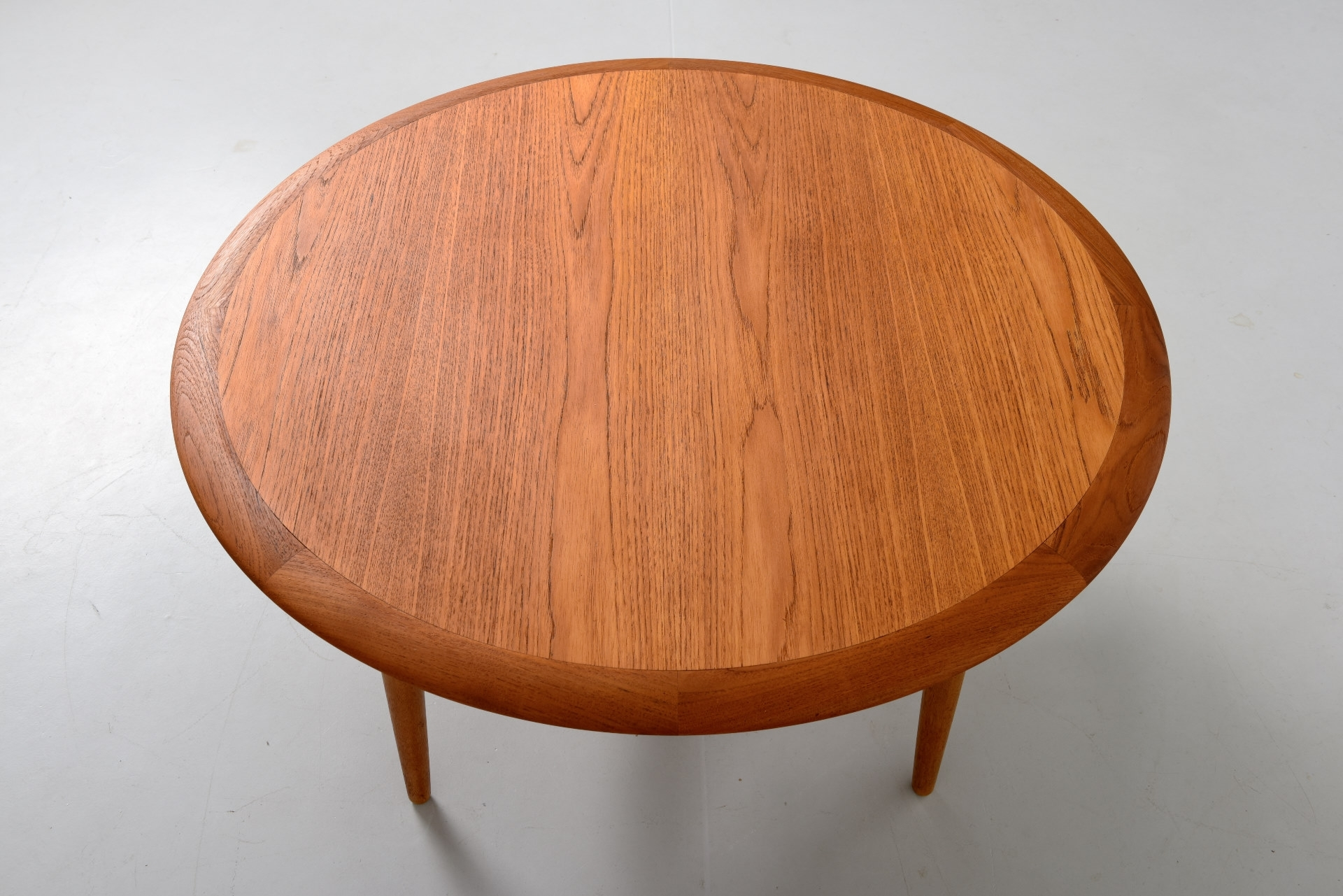 Round Coffee Table In Teak With Rattan Shelf | Modestfurniture intended for Round Teak Coffee Tables (Image 19 of 30)