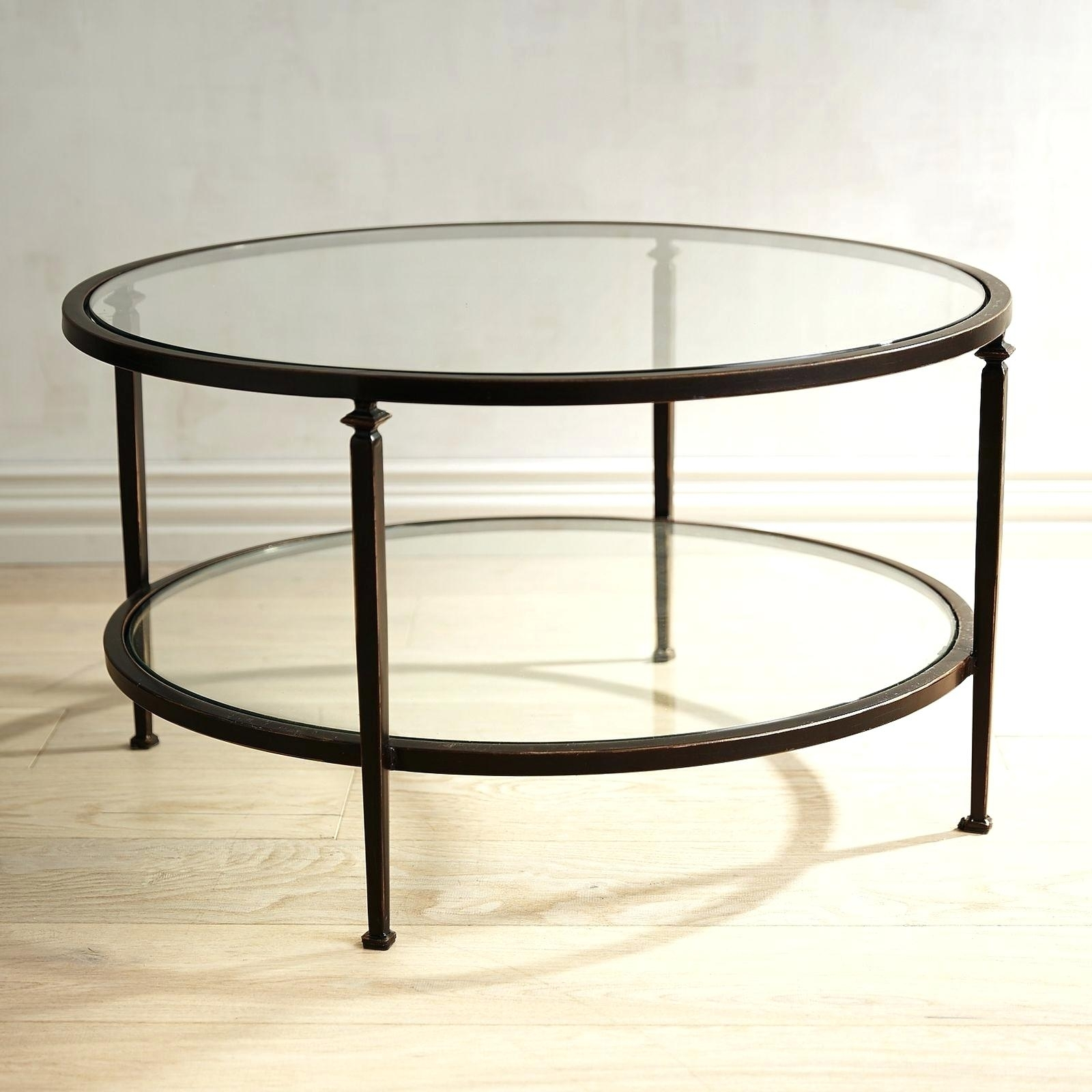 Round Glass And Iron Coffee Table Rustic Wood Sets Modern Metal with regard to Square Waterfall Coffee Tables (Image 17 of 30)