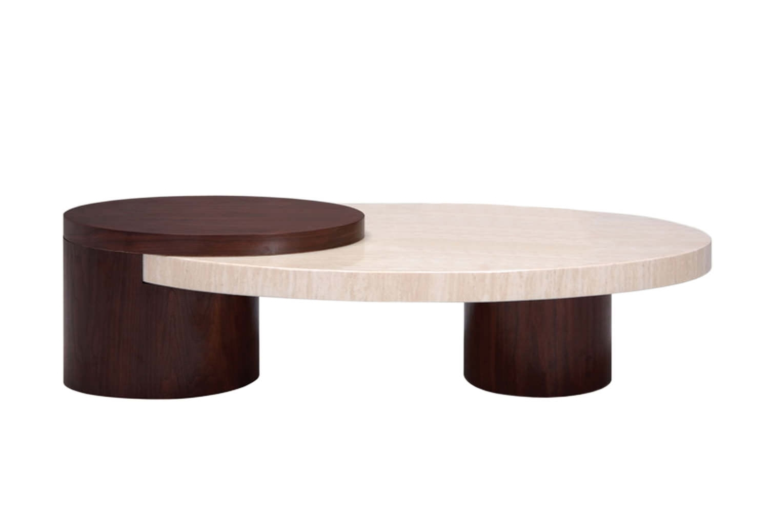 Round Travertine Coffee Table — Sushi Ichimura Decor : Contemporary with Chiseled Edge Coffee Tables (Image 22 of 30)