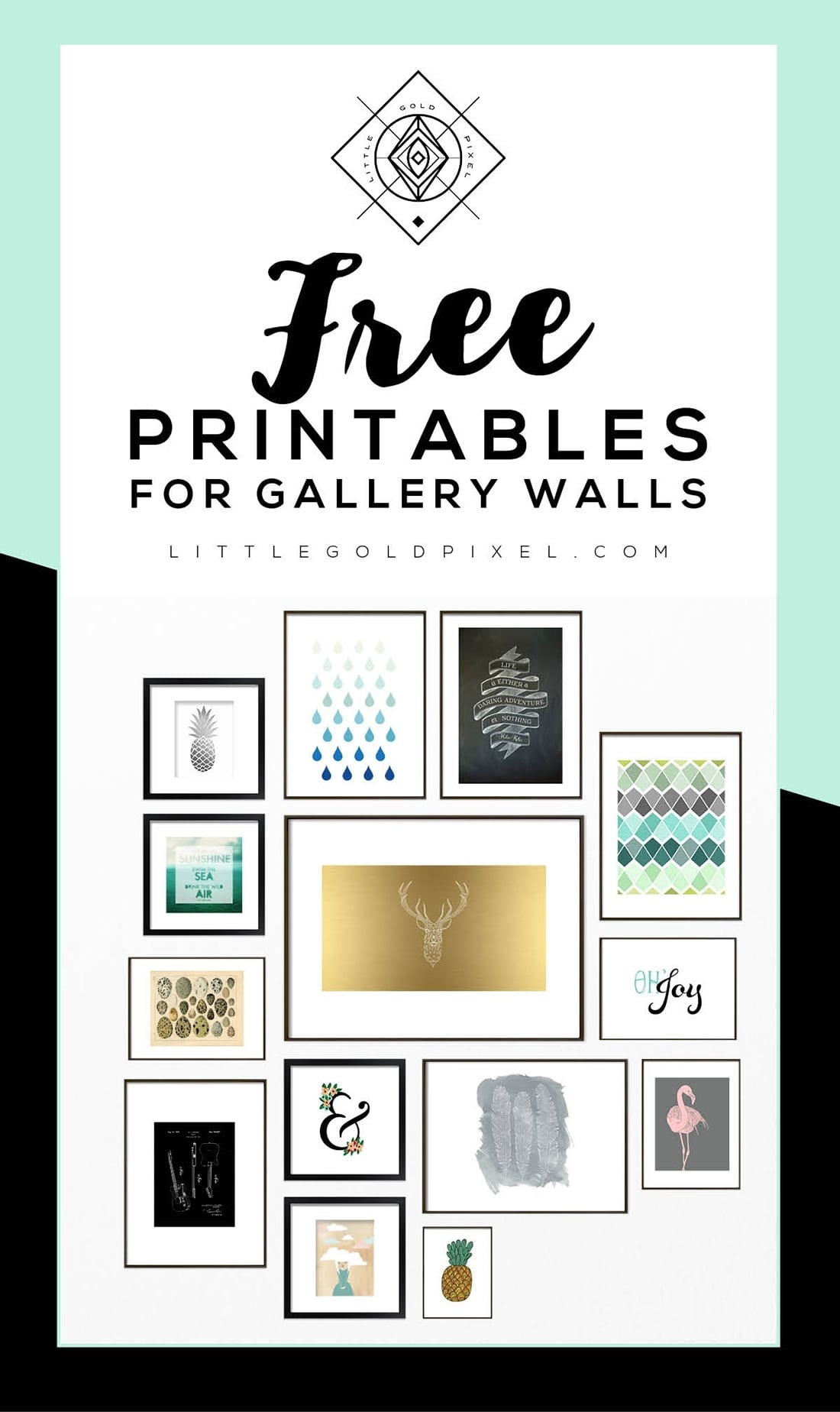 Roundup: Free Printables For Gallery Walls • Little Gold Pixel In Free Printable Wall Art (View 8 of 20)