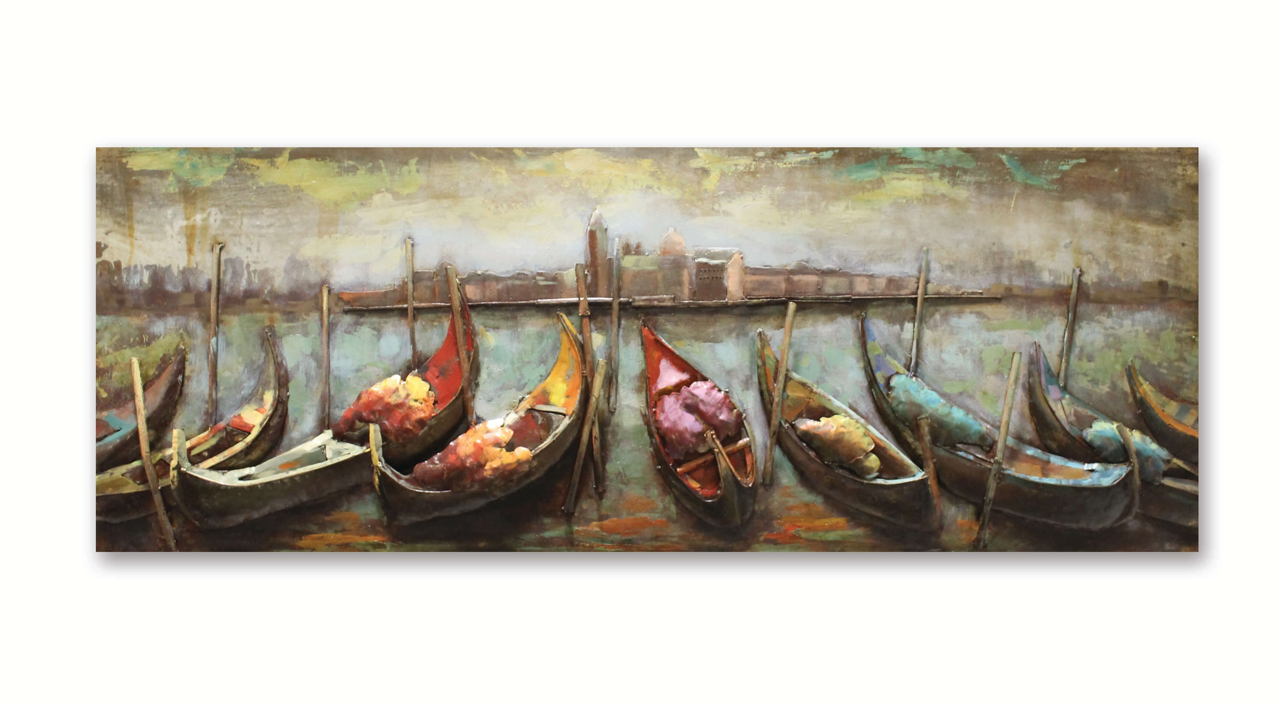 Row Of Gondolas 3D Metal Wall Art – Aves Unique pertaining to 3D Metal Wall Art (Image 16 of 20)