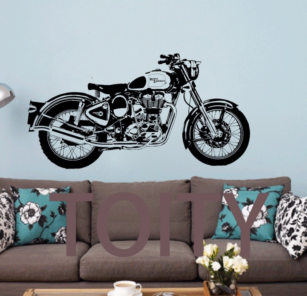 Royal Enfield Motorbike Wall Art Sticker Classic English Motorcycle in Motorcycle Wall Art (Image 17 of 20)
