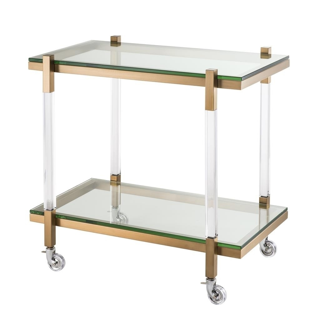 Royalton Clear Acrylic & Brushed Brass Trolley | Shop Now with Acrylic & Brushed Brass Coffee Tables (Image 19 of 20)