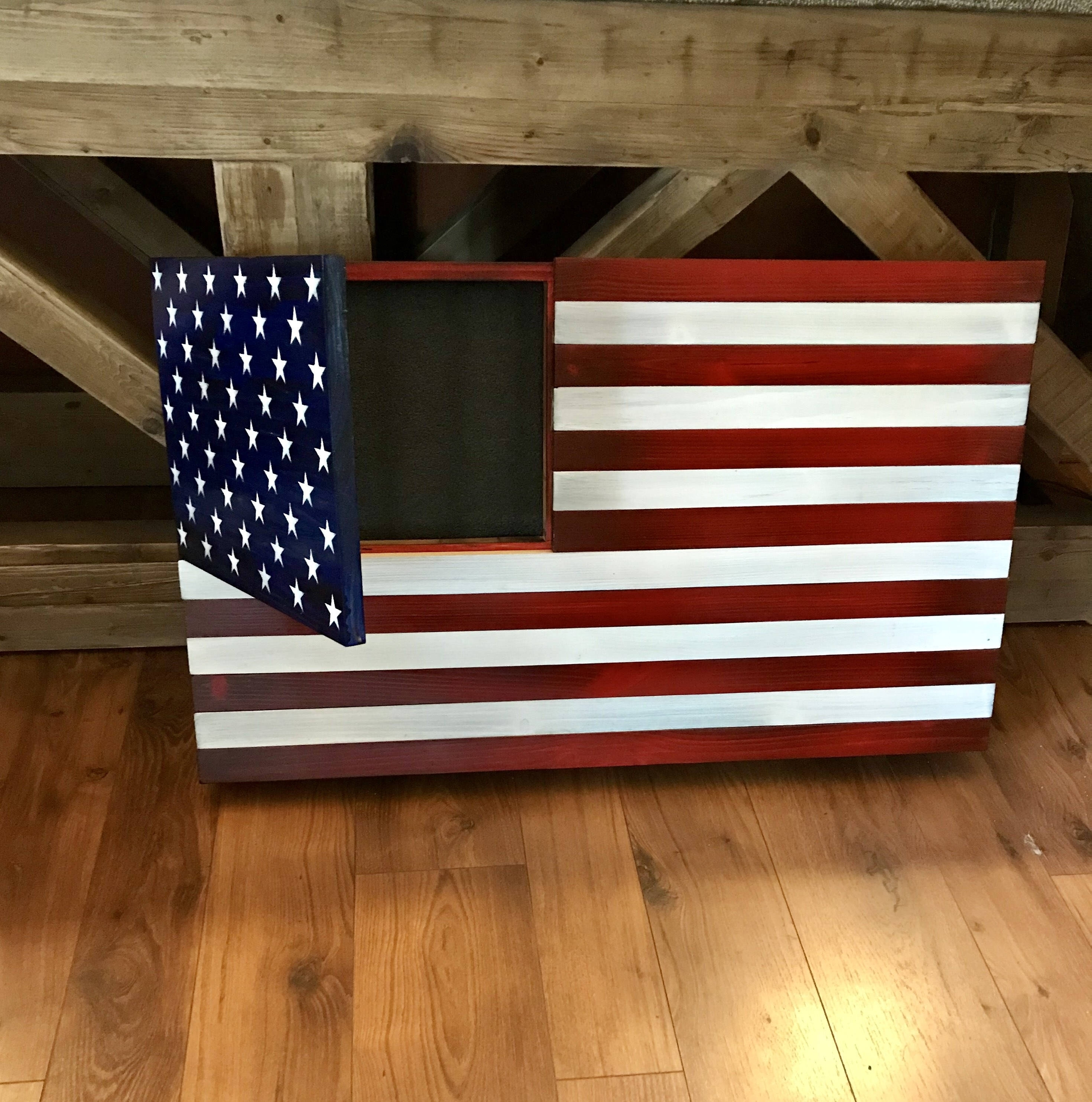 Rustic American Flag Concealed Weapon Flag Cabinet American   Etsy Inside Rustic American Flag Wall Art (View 15 of 20)