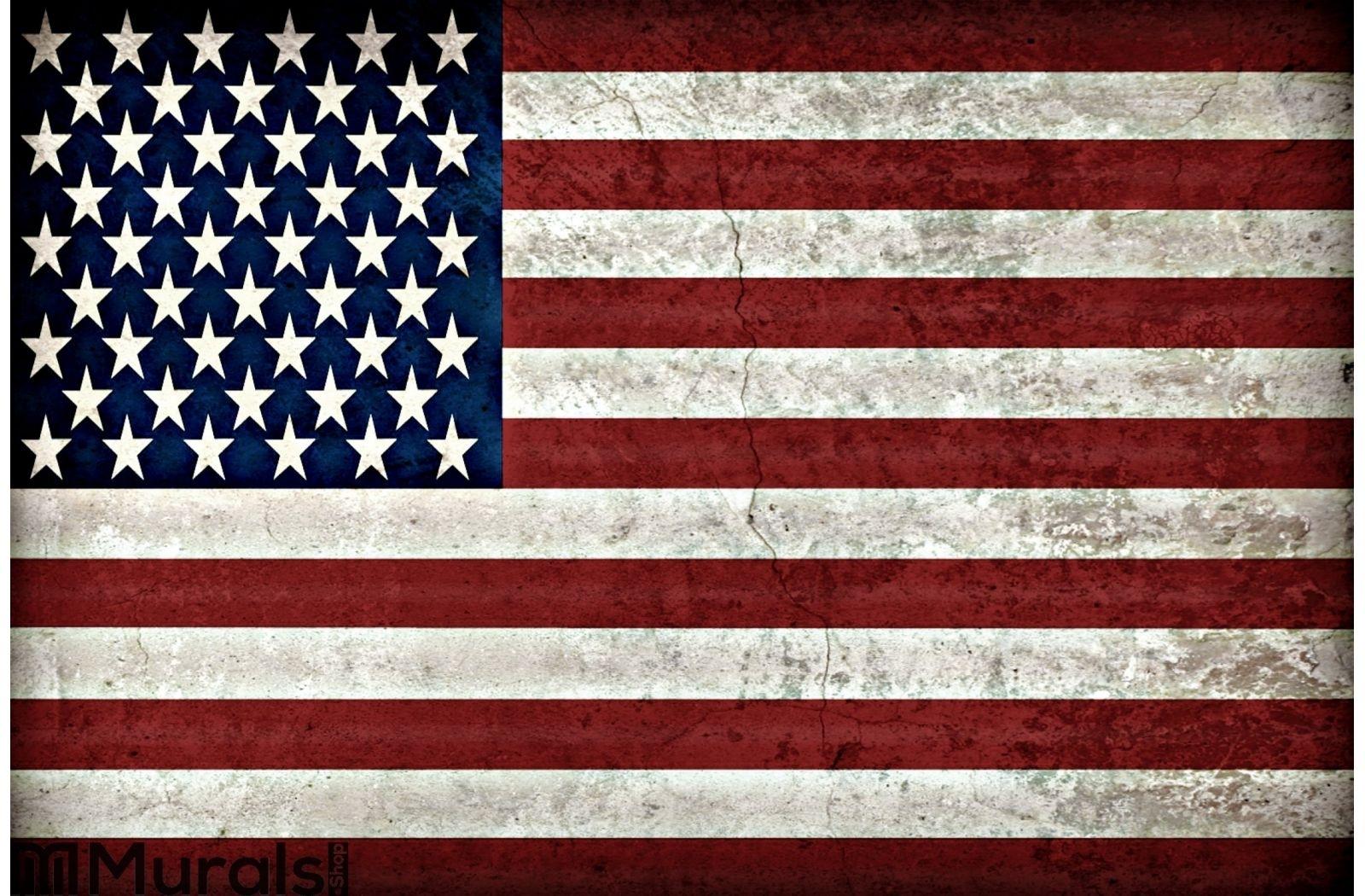 Rustic American Flag Wall Mural For Rustic American Flag Wall Art (View 18 of 20)