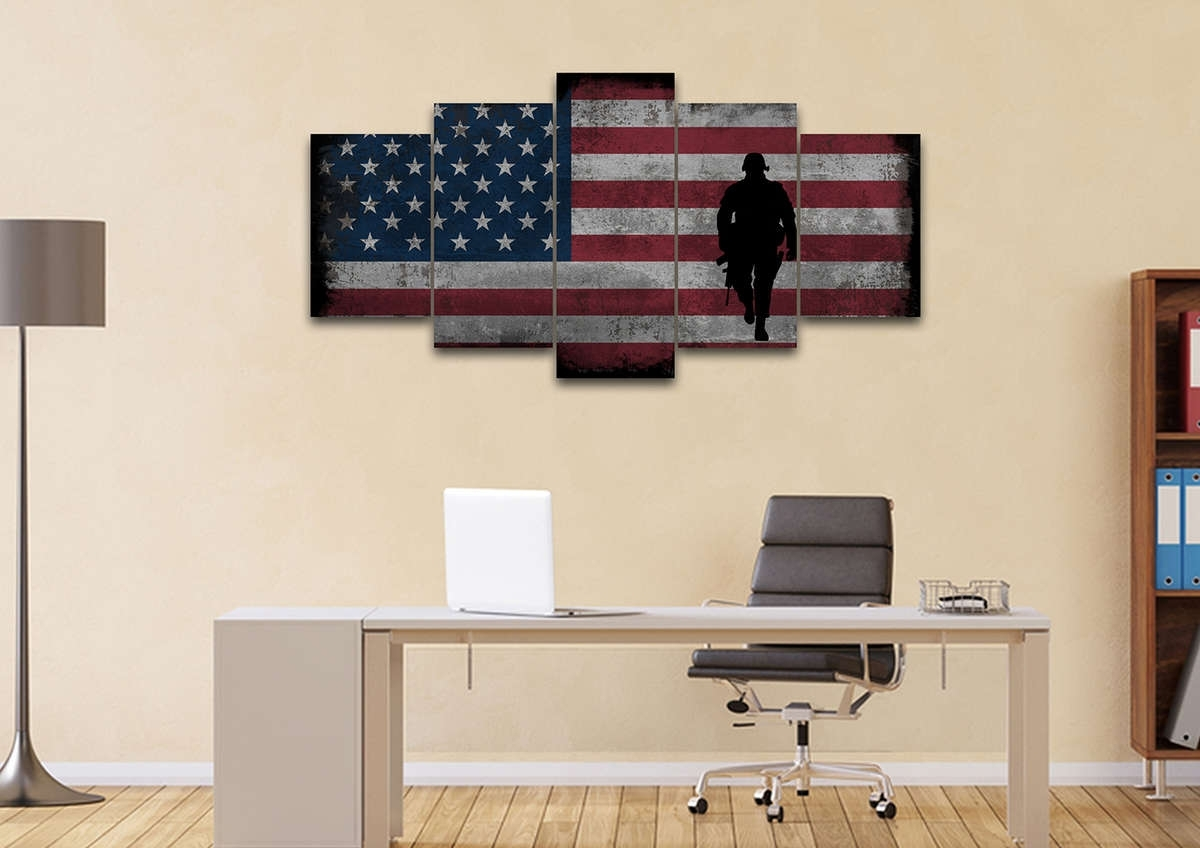 Rustic American Flag With Soldiers #2 - Army Rangers- Military Art intended for American Flag Wall Art (Image 16 of 20)