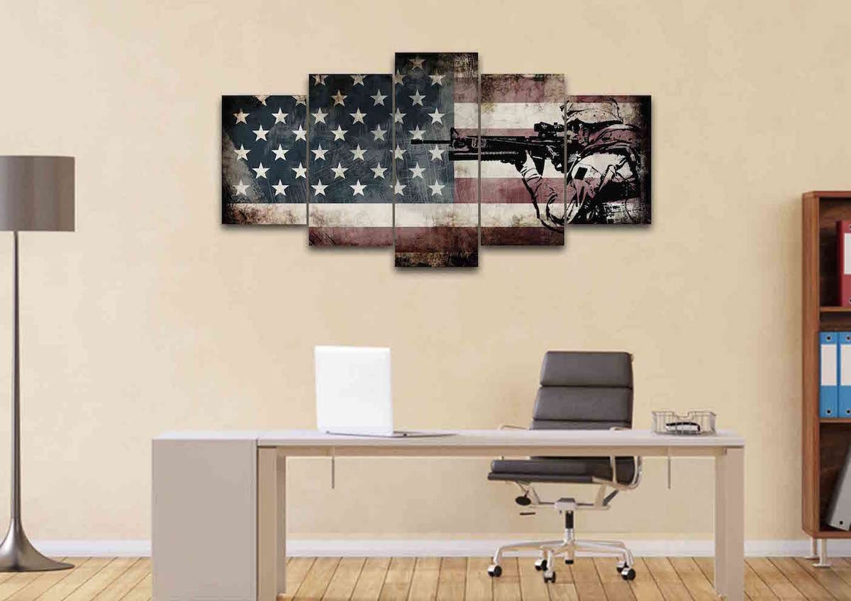 Rustic American Flag With Us Army Soldier Wall Art Canvas Painting Intended For Rustic American Flag Wall Art (View 14 of 20)