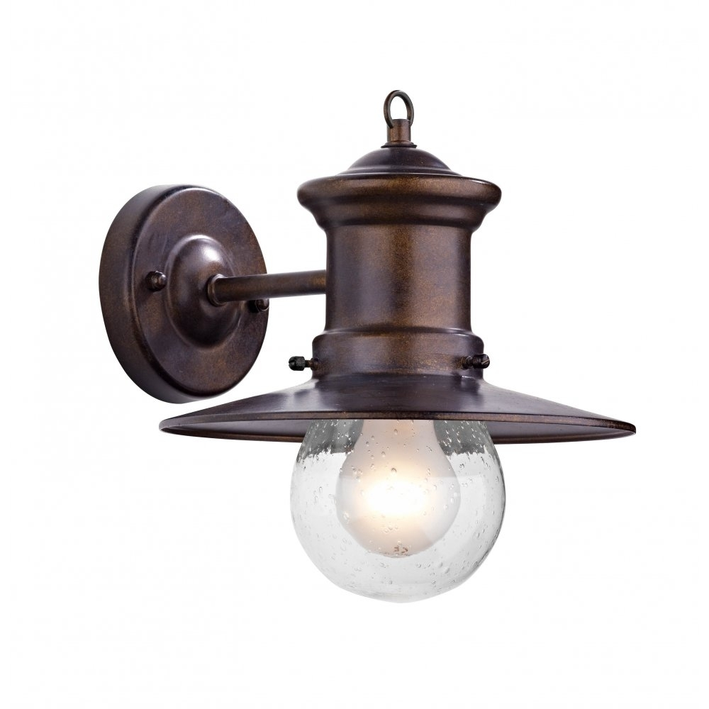 Rustic Outdoor Wall Light In Bronze Finish With Glass Shade In Outdoor Porch Lanterns (View 16 of 20)