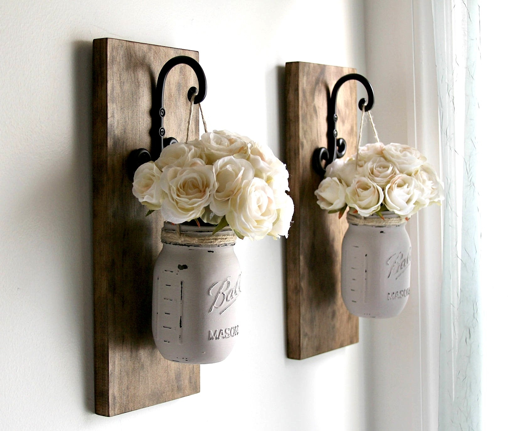 Rustic Sconces Rustic Wall Decor Mason Jars Sconce Farmhouse | Art intended for Mason Jar Wall Art (Image 16 of 20)