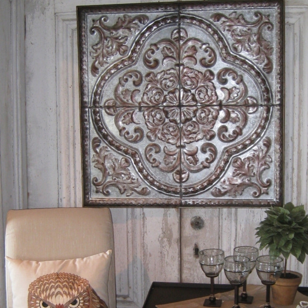 Rustic Seville Tin Wall Plaque 24X24 Mediterranean Home Plaque with Tin Wall Art (Image 11 of 20)