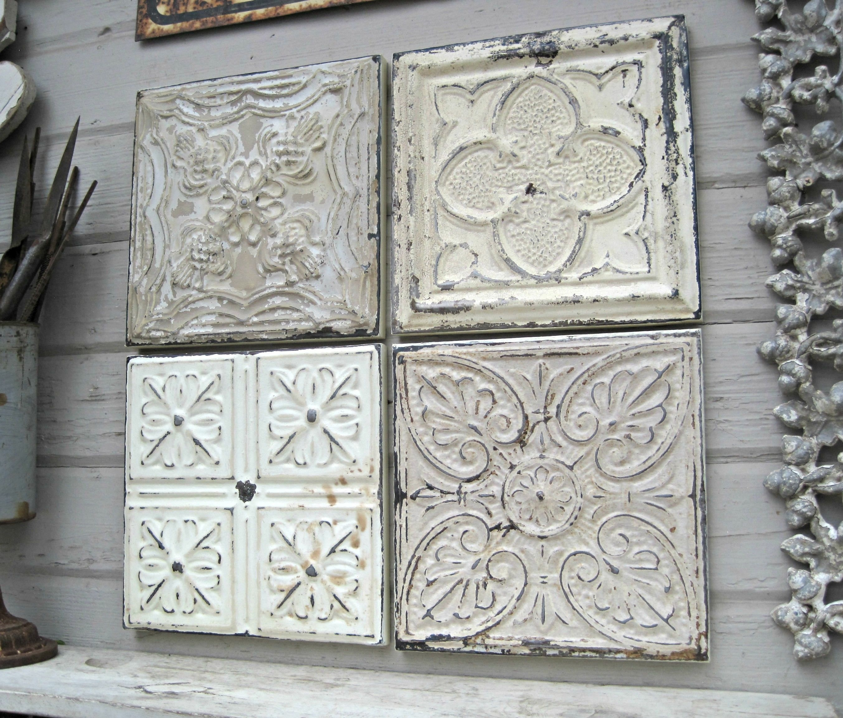 Rustic Wall Decor, Antique Architectural Salvage, 4 Framed Ceiling for Tin Wall Art (Image 12 of 20)
