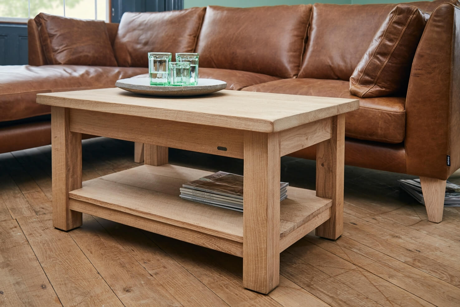 Rustic Wood Coffee Tables Handmade From Solid Oak Planks | Indigo regarding Mill Large Leather Coffee Tables (Image 23 of 30)