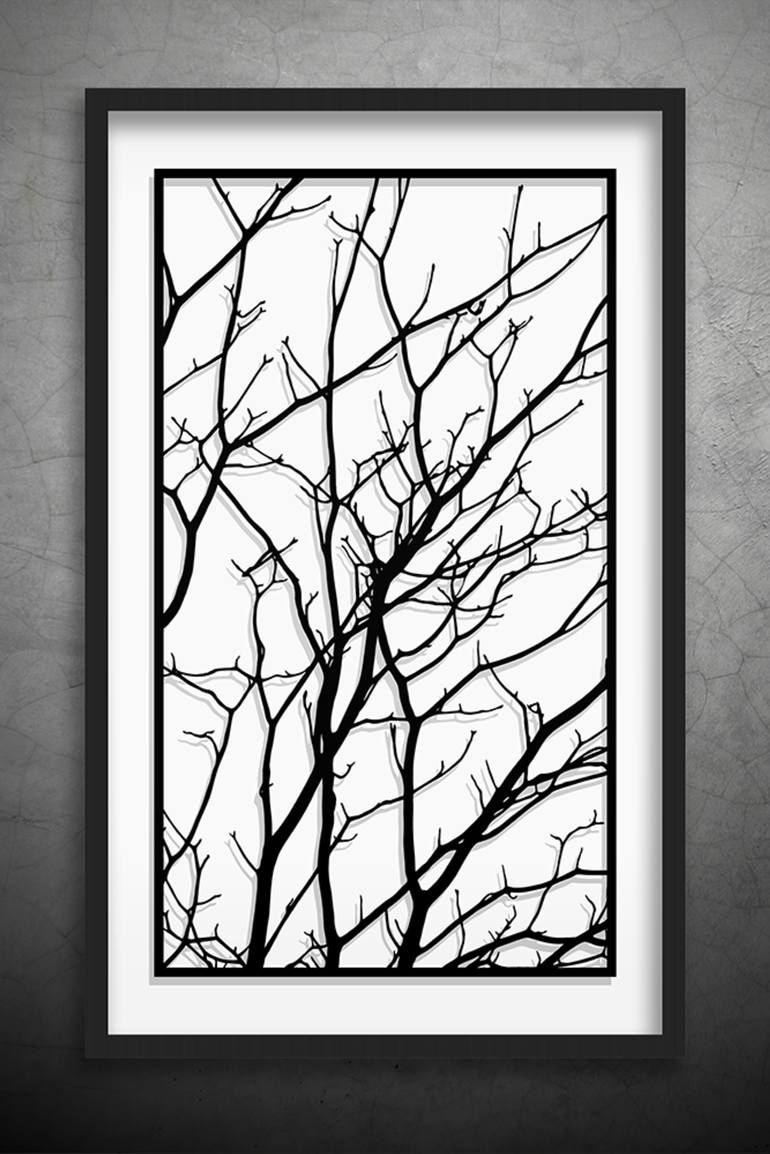 Saatchi Art: Tree Branches Original Paper Cut Art, Black And White inside Black Wall Art (Image 15 of 20)