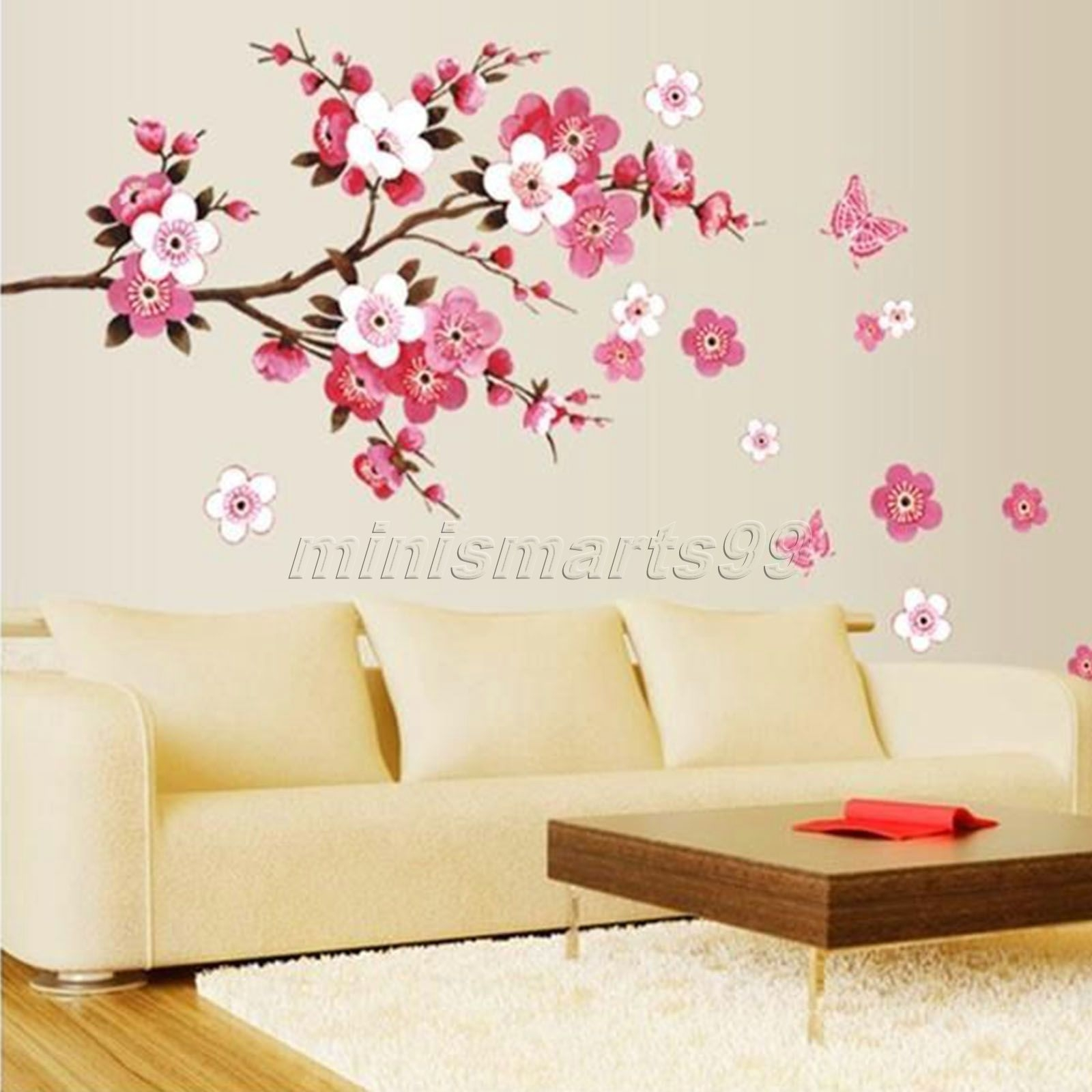 Sakura Flower Butterfly Cherry Blossom Wall Decal Nursery Tree throughout Cherry Blossom Wall Art (Image 16 of 20)