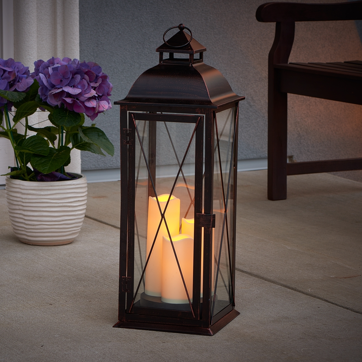 Salerno Triple Led Candle Lantern | Antique Brown | Smart Living With Regard To Outdoor Timer Lanterns (View 4 of 20)