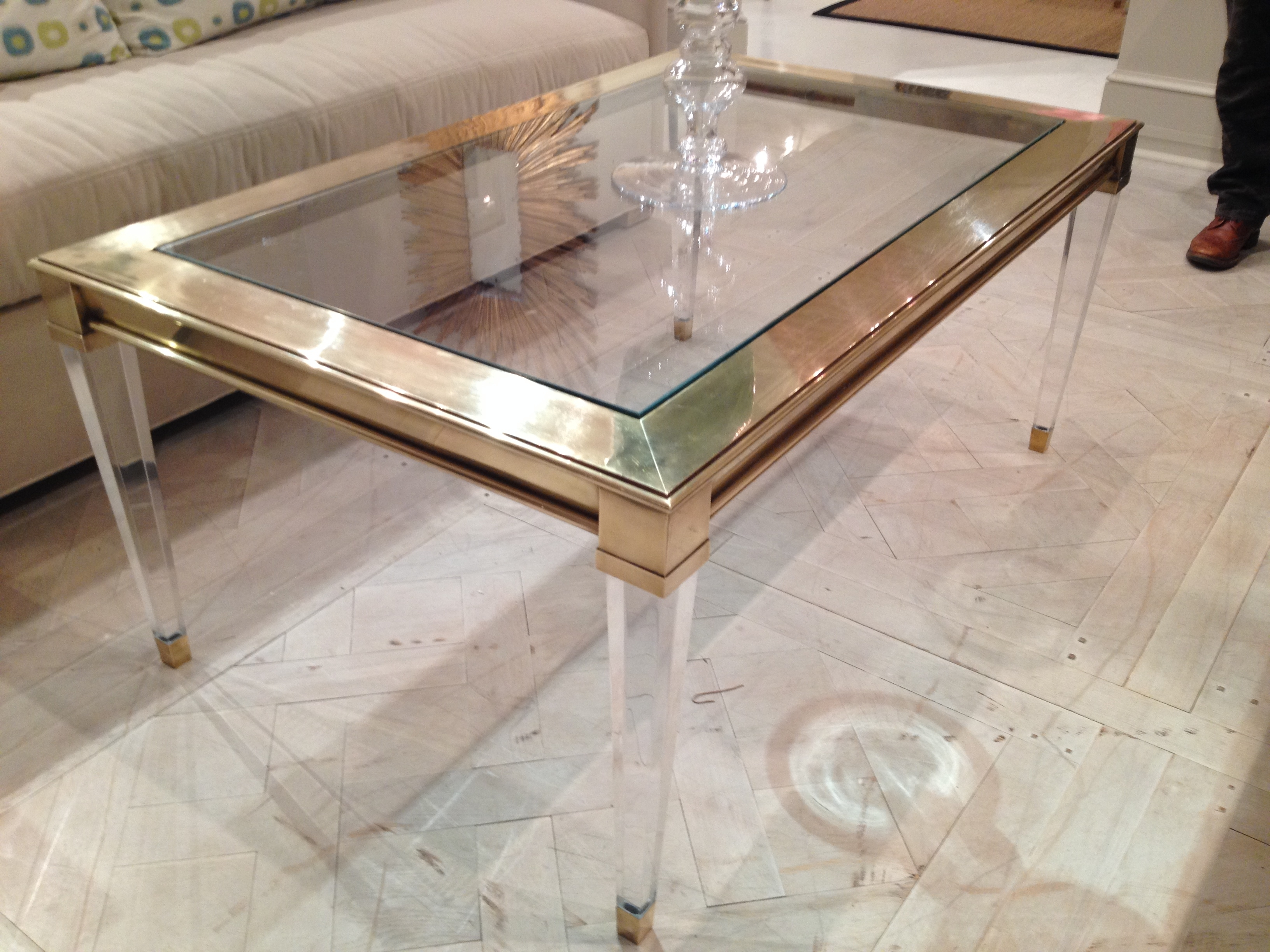 Salma Acrylic And Brass Coffee Table - Mecox Gardens pertaining to Acrylic Glass And Brass Coffee Tables (Image 26 of 30)