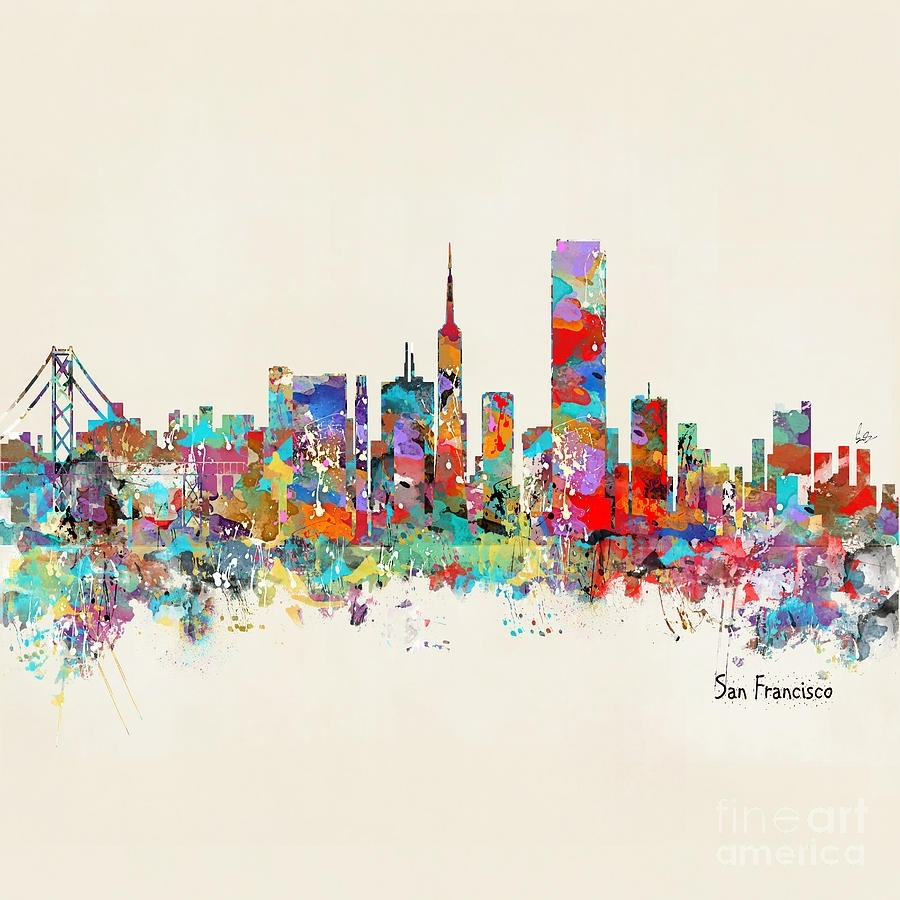 San Francisco California Skyline Bri Buckley Superb San Francisco inside San Francisco Wall Art (Image 12 of 20)