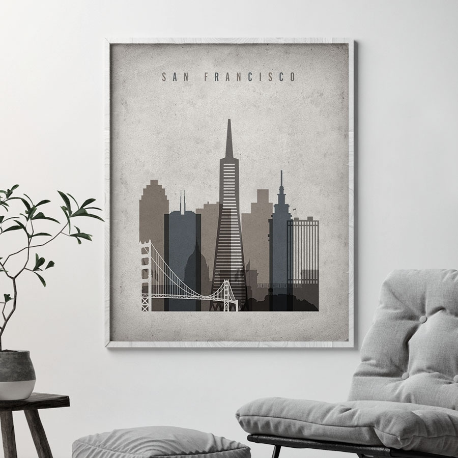 San Francisco Skyline Wall Art Retro | Artprintsvicky with San Francisco Wall Art (Image 14 of 20)