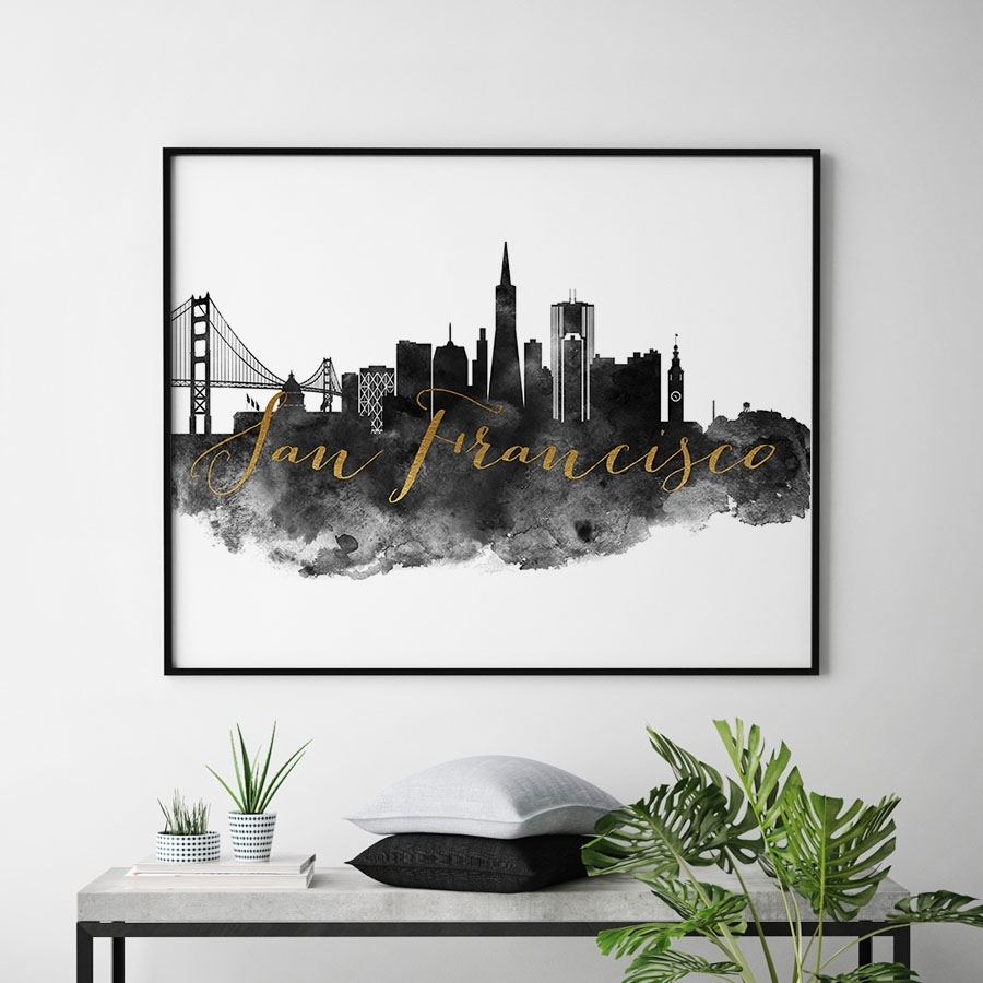 San Francisco Wall Art Print Black And White | Artprintsvicky regarding San Francisco Wall Art (Image 15 of 20)