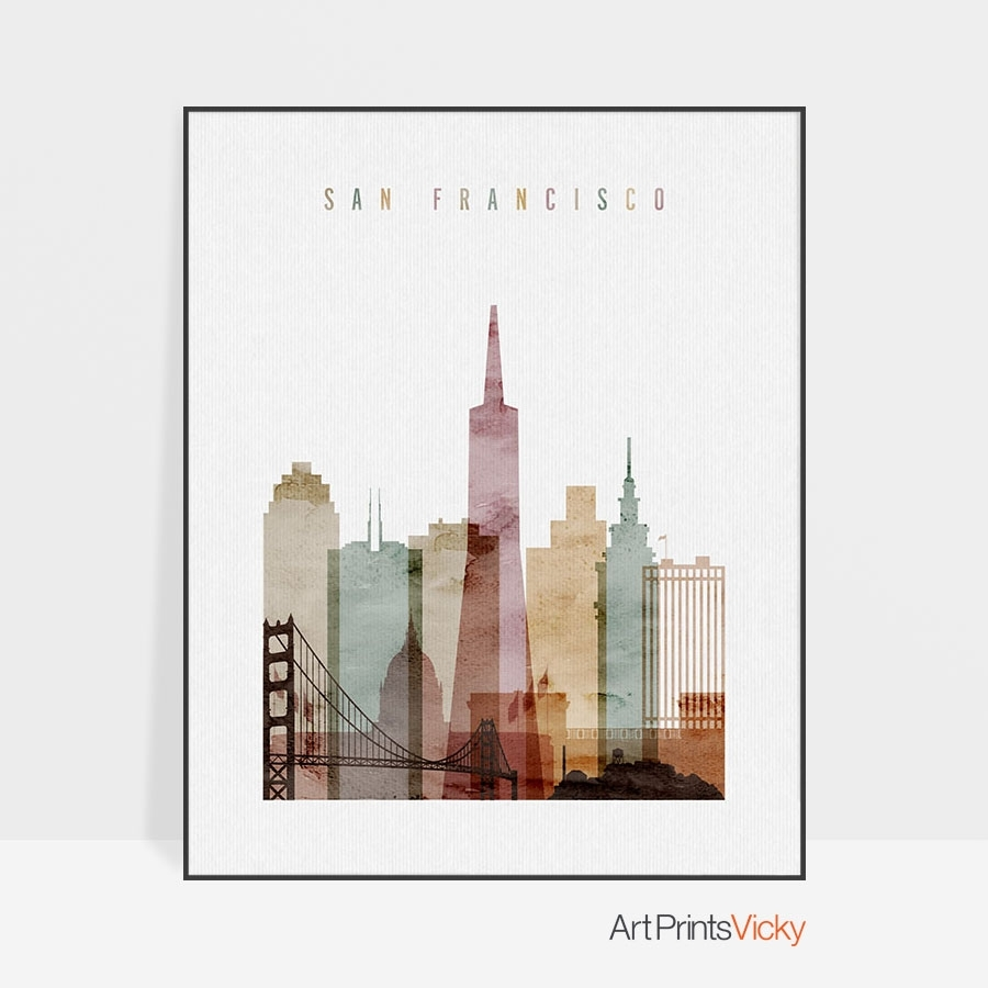 San Francisco Wall Art Watercolor 1 | Artprintsvicky within San Francisco Wall Art (Image 16 of 20)
