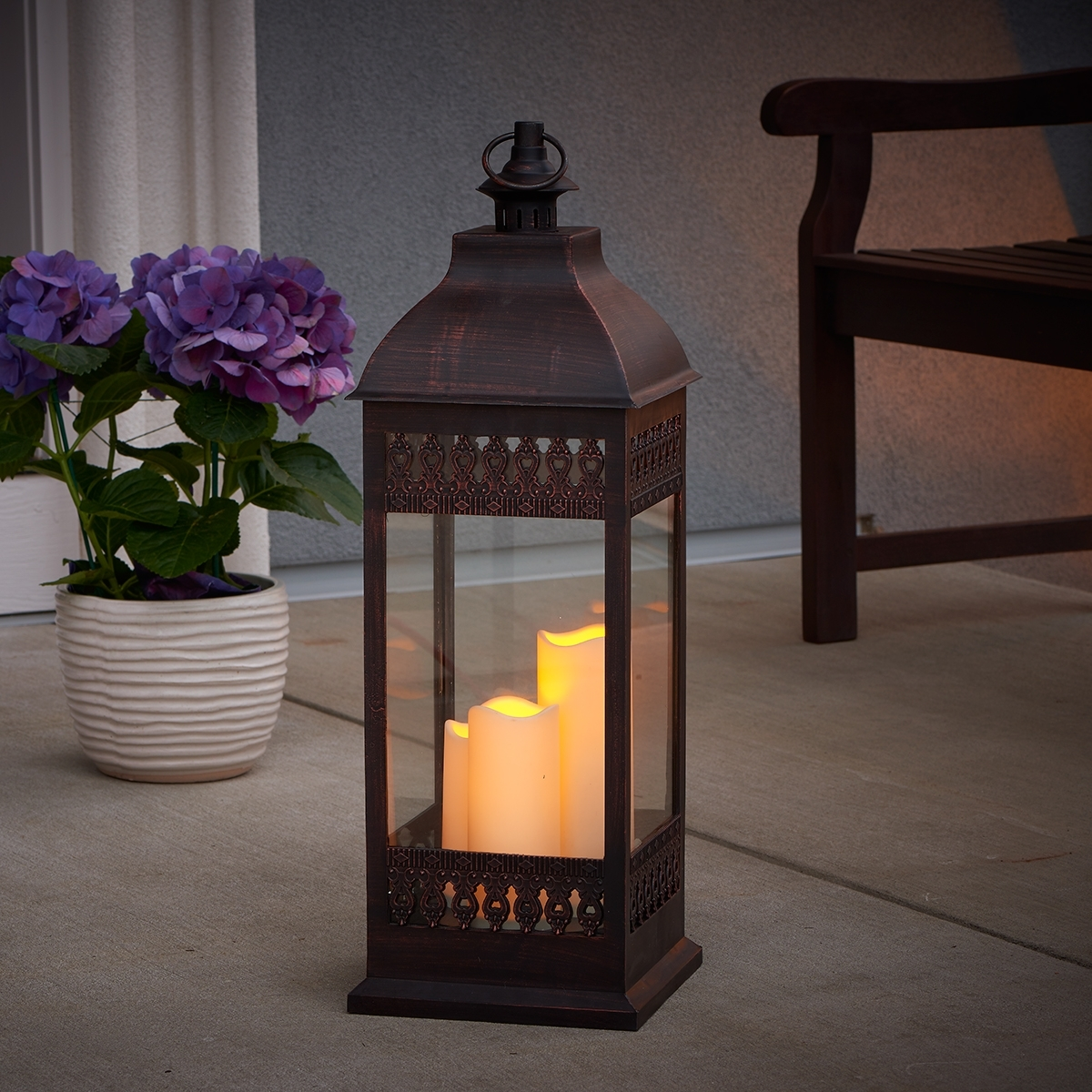"San Nicola 28"" Triple Led Candle – Antique Bronze – Walmart Pertaining To Outdoor Lanterns With Battery Candles (View 20 of 20)"
